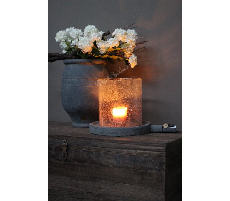 Brynxz glazen windlicht steenslag helder 23 cm