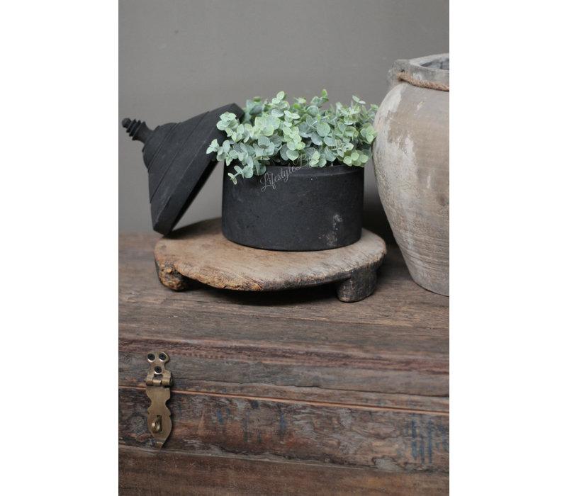 Zwart houten opbergpot Tika