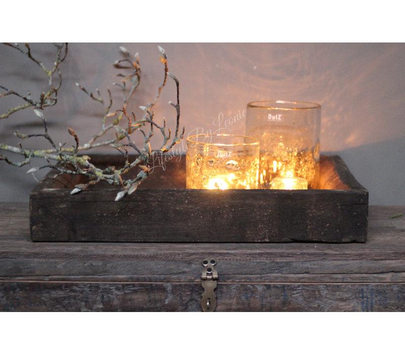 Oude zware donker houten bak 60 cm