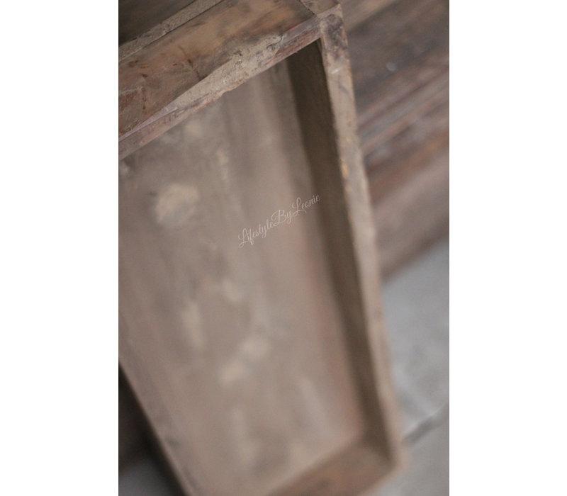 Lange smalle houten trog greywash