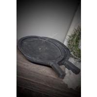 Oude schaal met handvat black wash 30 cm