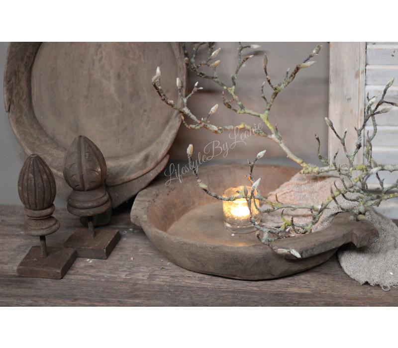 Authentieke Indiase houten schaal - maat L