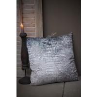 Kussen velvet Croco grijs 45 cm