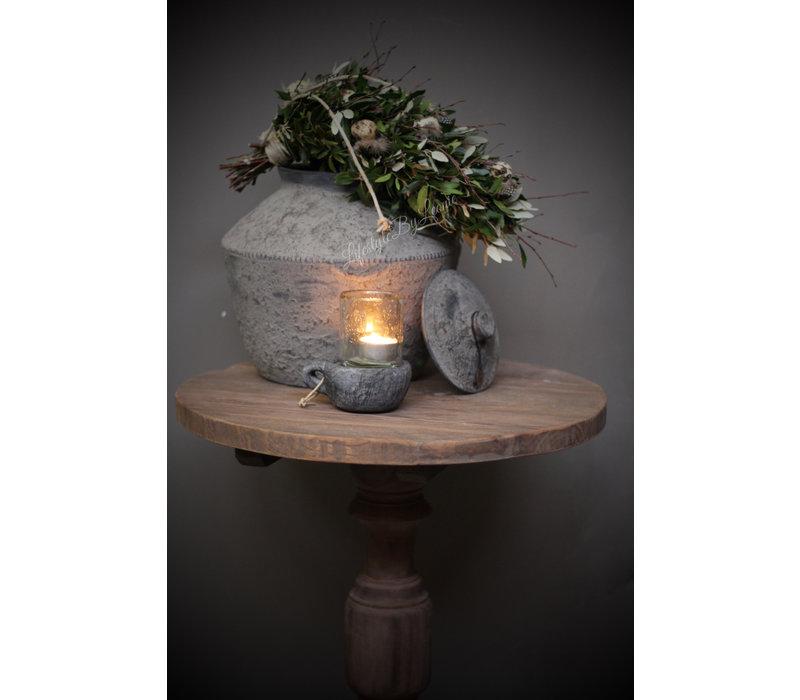 Stenen grijze lepel kandelaar