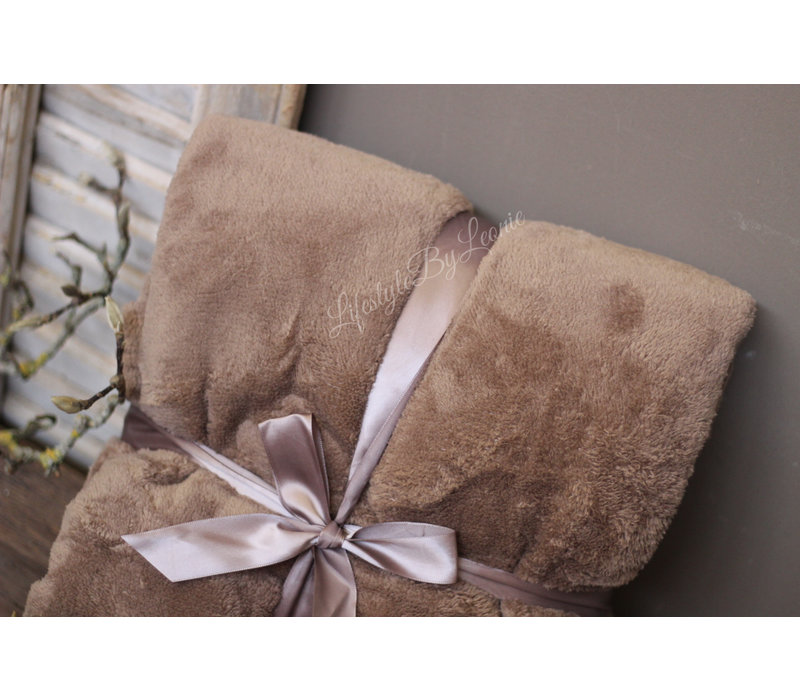 Fleece plaid Taupe/leem 200 cm