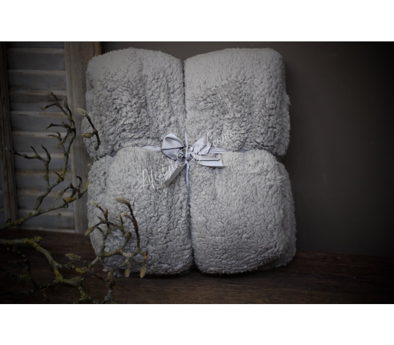 Fleece teddy plaid Light grey 200 cm