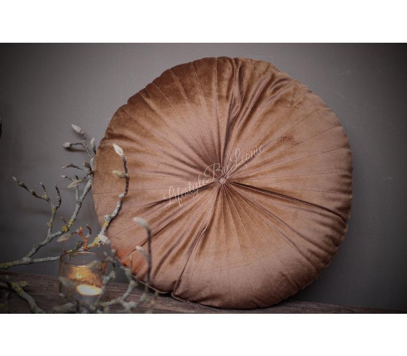 Rond velvet kussen Coconut 40 cm