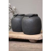 Klein zwart stenen bol kruikje 12 cm