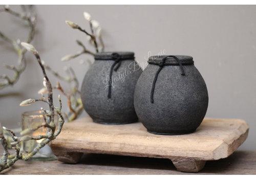 Zwart stenen kruikje Conic 11 cm