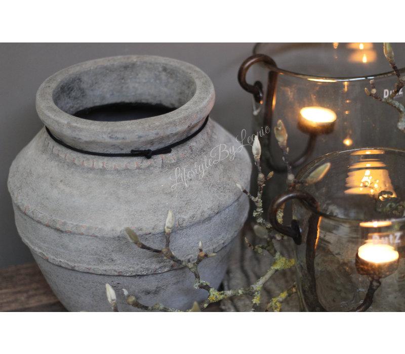 Stenen kruik dubbele ribbelrand Old grey 26 cm