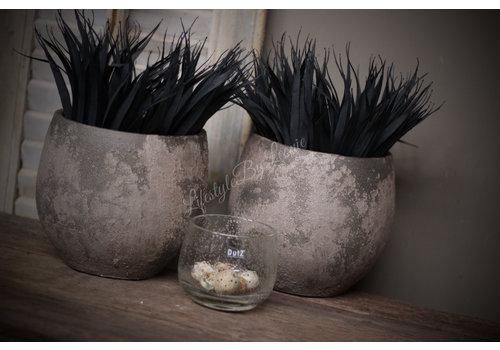 Ronde stenen pot Leem/klei 16 cm