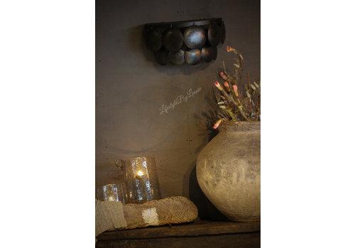 Wandlamp schijfjes old black 2 laags 40 cm