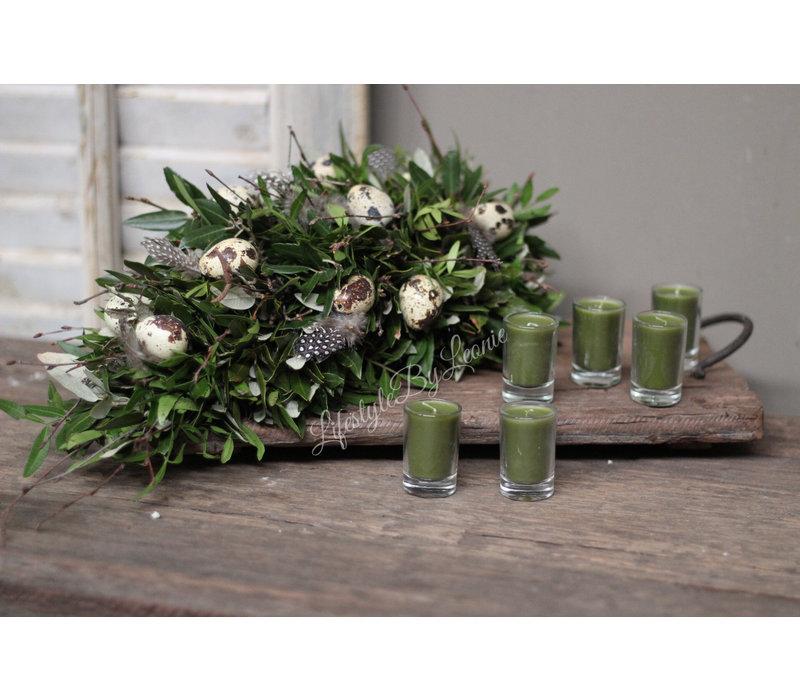 Set kaarsjes in glas Green