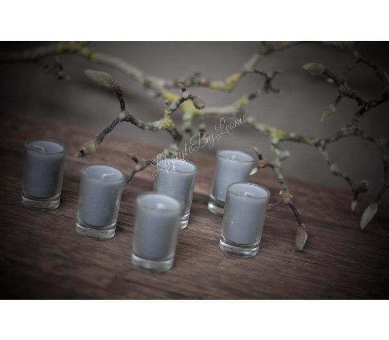 Set kaarsjes in glas Light grey