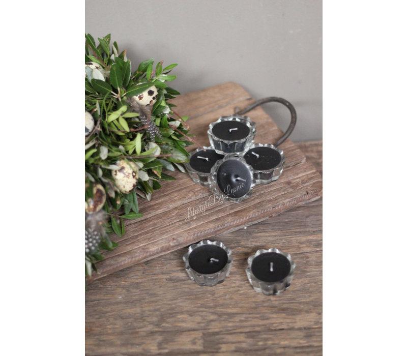 Set flower kaarsjes zwart in glas - 7 stuks