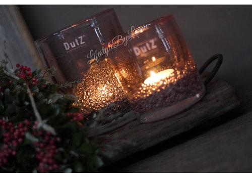 Dutz DUTZ cilinder windlicht met bubbels light pink 10 cm
