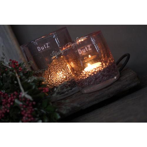 DUTZ cilinder windlicht met bubbels light pink 10 cm