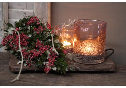 Dutz DUTZ cilinder windlicht bubbels Light pink 13 cm