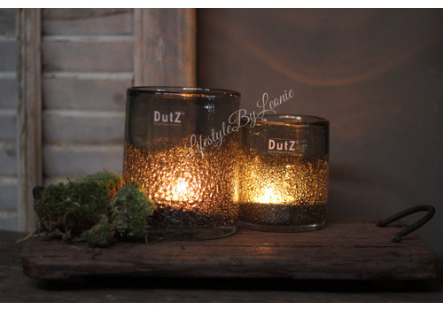 Dutz DUTZ cilinder windlicht met bubbels old grey 10 cm