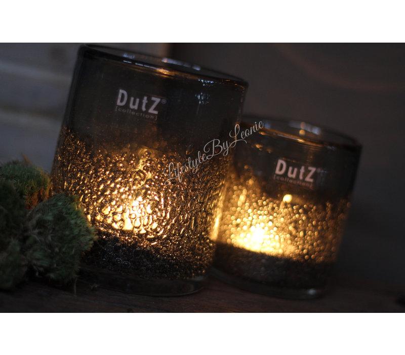 DUTZ cilinder windlicht met bubbels old grey 13 cm