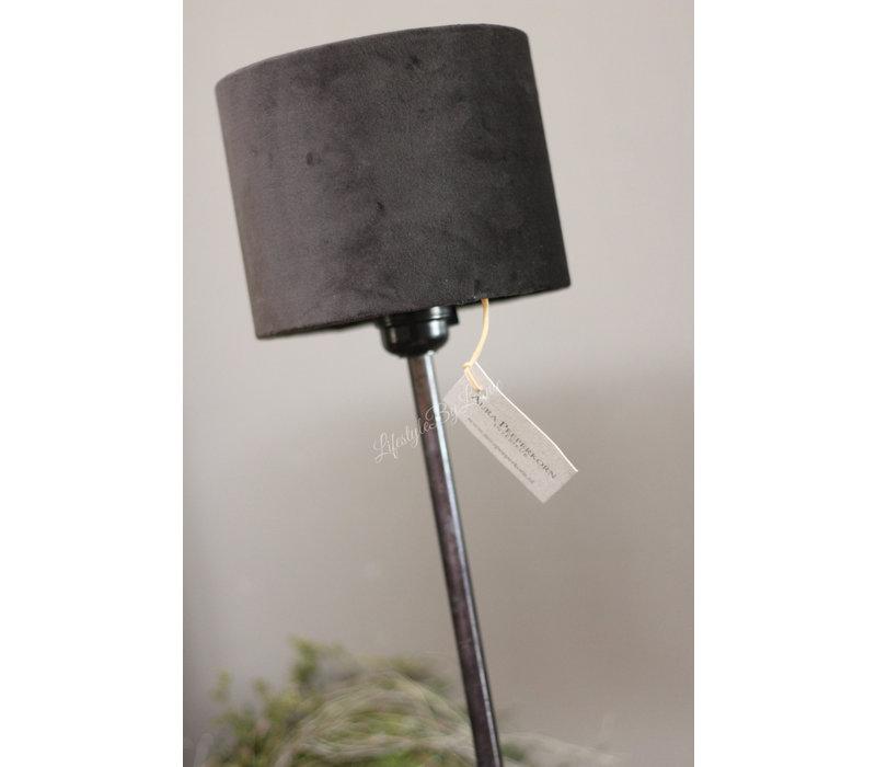 Aura Peeperkorn velvet cilinder lampenkap zwart 15 cm