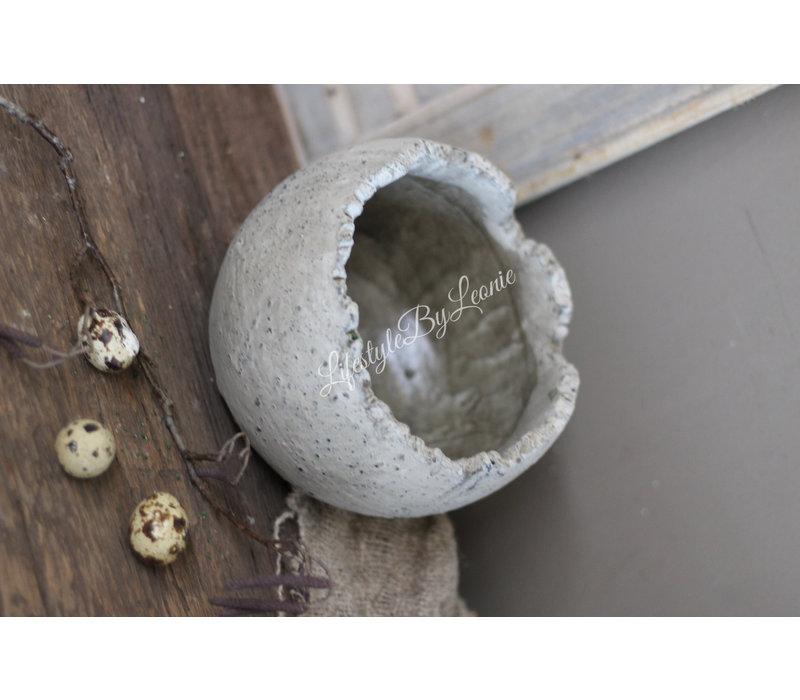 Stenen robuuste pot Egg 18 cm