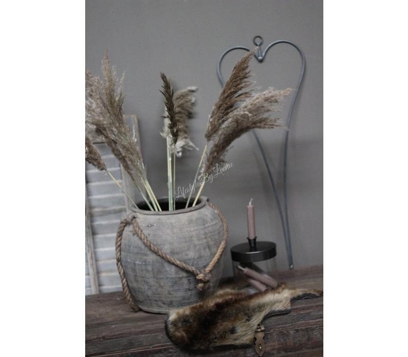 Glazen potje met kaarshouder voor dinerkaars 16 cm