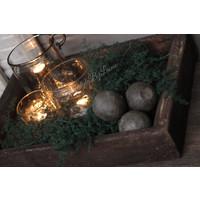 Sobere houten decoratiebal Old wood 8 cm