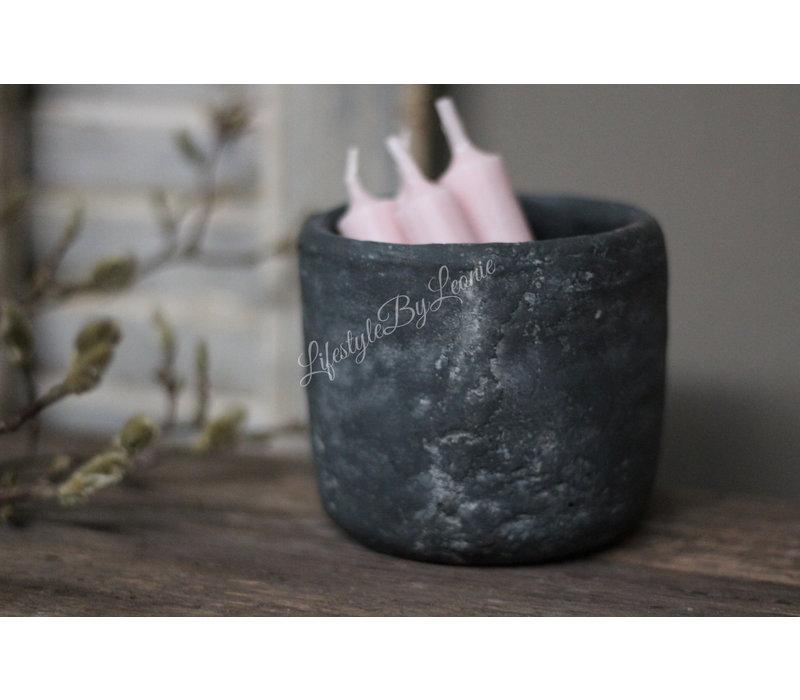 Mini zwart stenen potje 13 cm