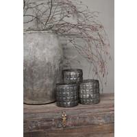 Sobere glazen waxinelichthouder Blocks black 15 cm
