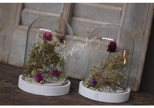 Glazen stolp met gedroogde bloemen 15 cm