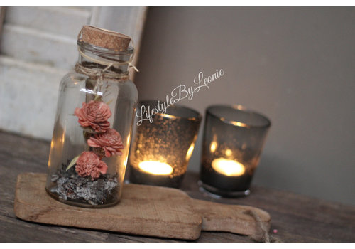 Glazen fles met gedroogde bloemen Pink