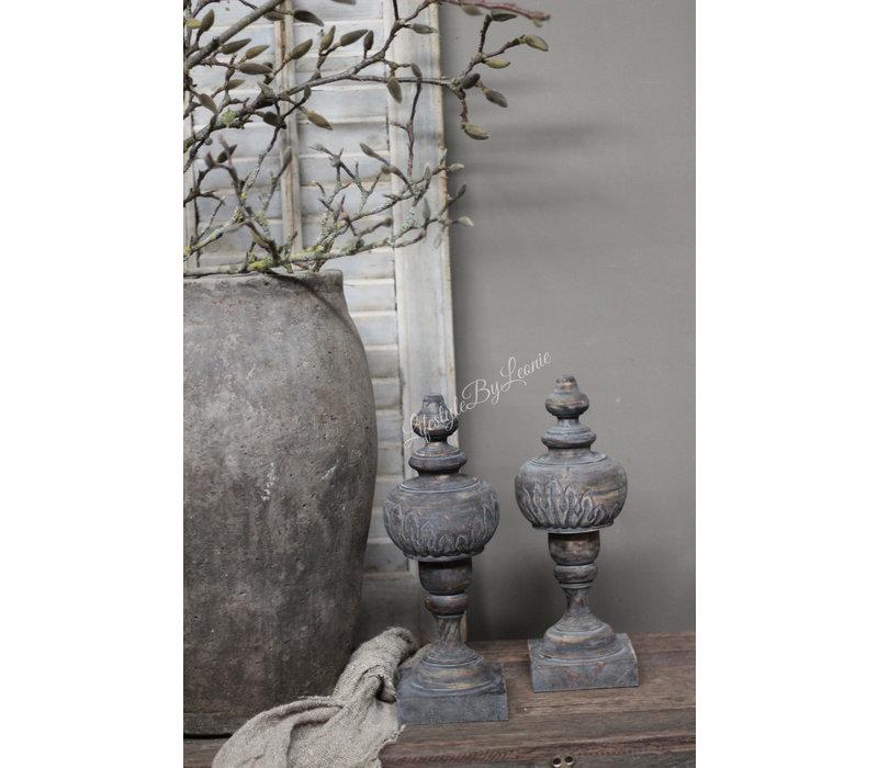 Houten ornament Flower grey wash
