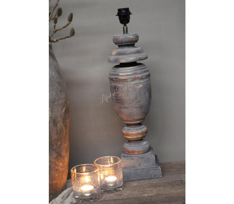 Dikke houten baluster lampvoet Bol