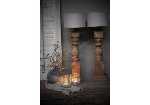 Houten balusterlampvoet Naturel teak