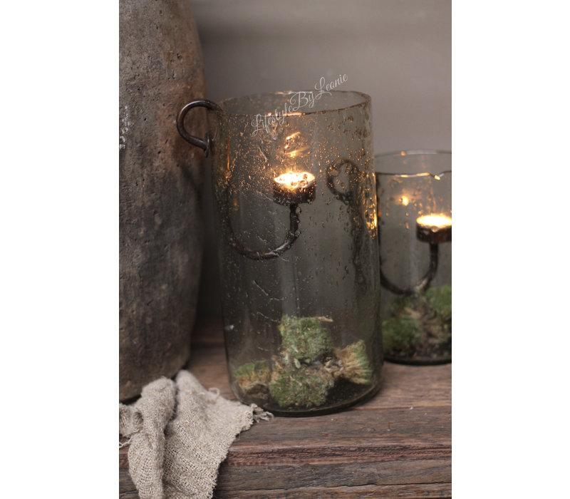 Cilinder windlicht met Metall bubbels Clarice 30 cm