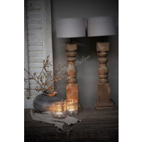 Cilinder lampenkap ruw linnen Leem 20 cm