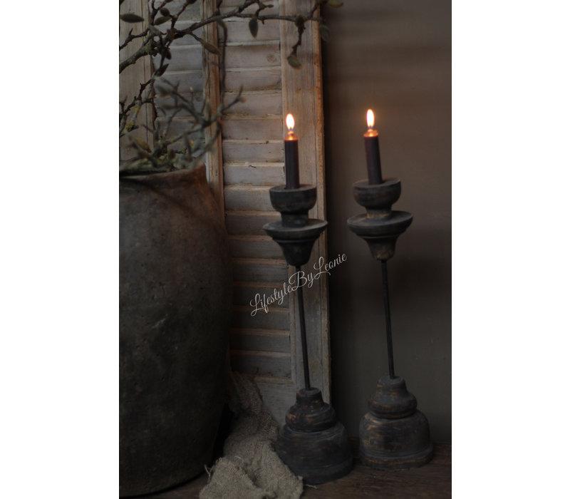 Houten ornament kandelaar op statief 45 cm