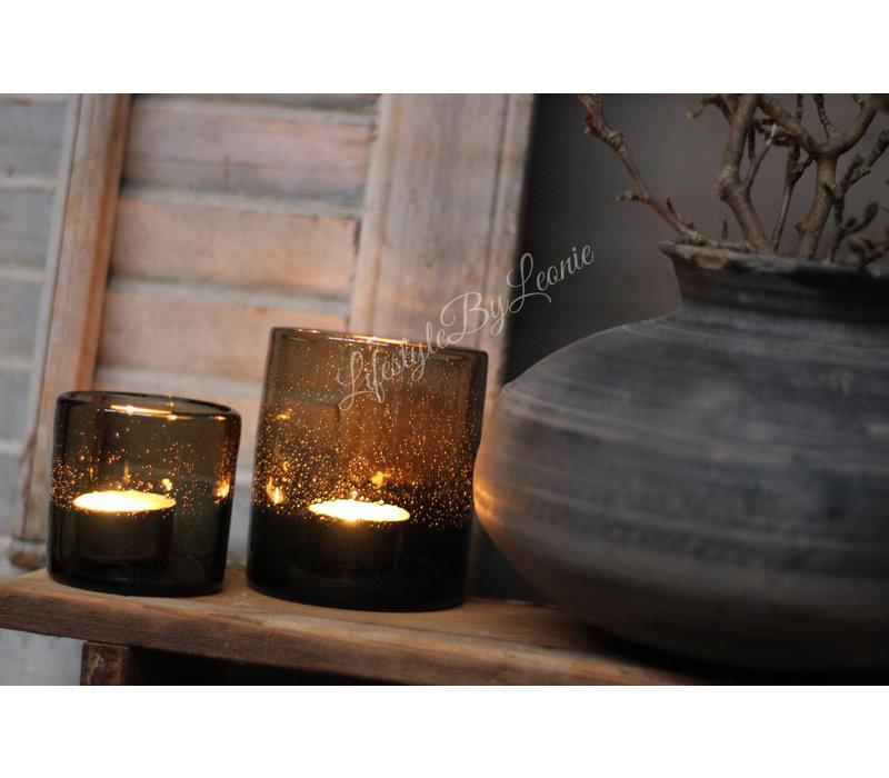 DUTZ windlicht bubbels bruin/zwart 10 cm