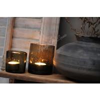 DUTZ windlicht bubbels bruin/zwart 7 cm
