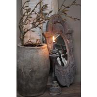 Lange smalle houten ossenoog spiegel Grey wash 80 cm