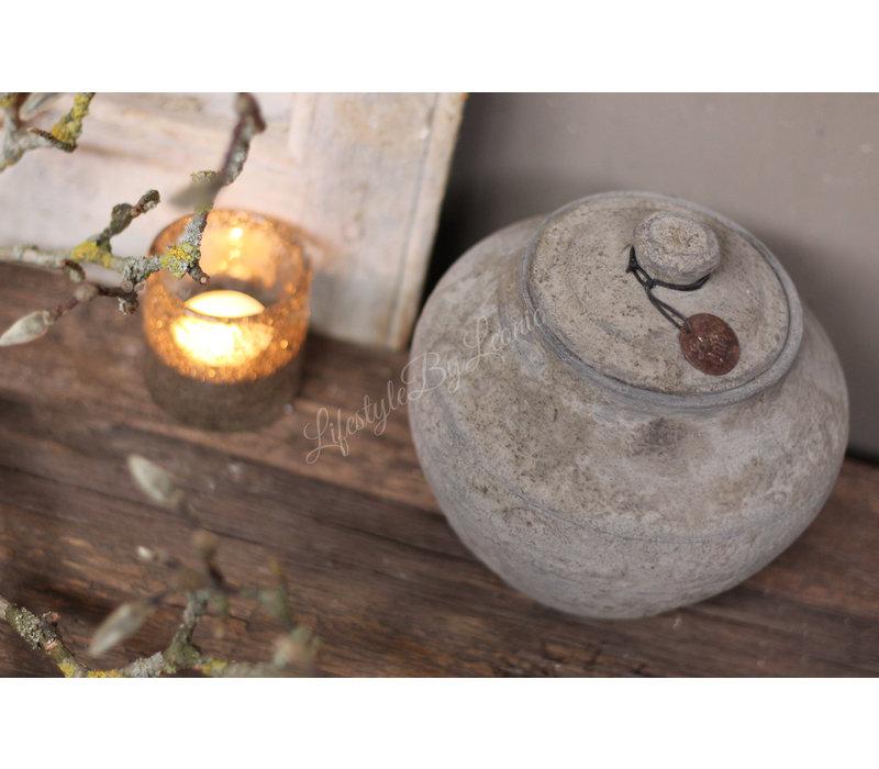 Stenen kruikje met deksel Steef 19 cm