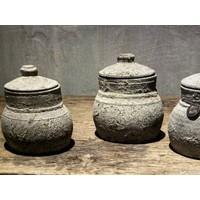 Stenen kruikje met deksel Ashley 16 cm