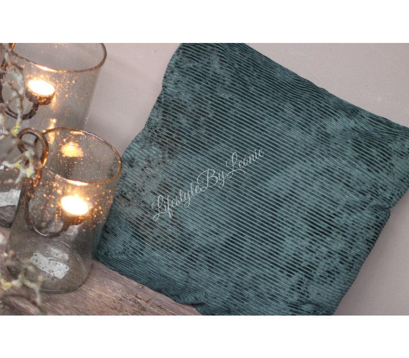 Kussen velvet rib Dark green 45 cm