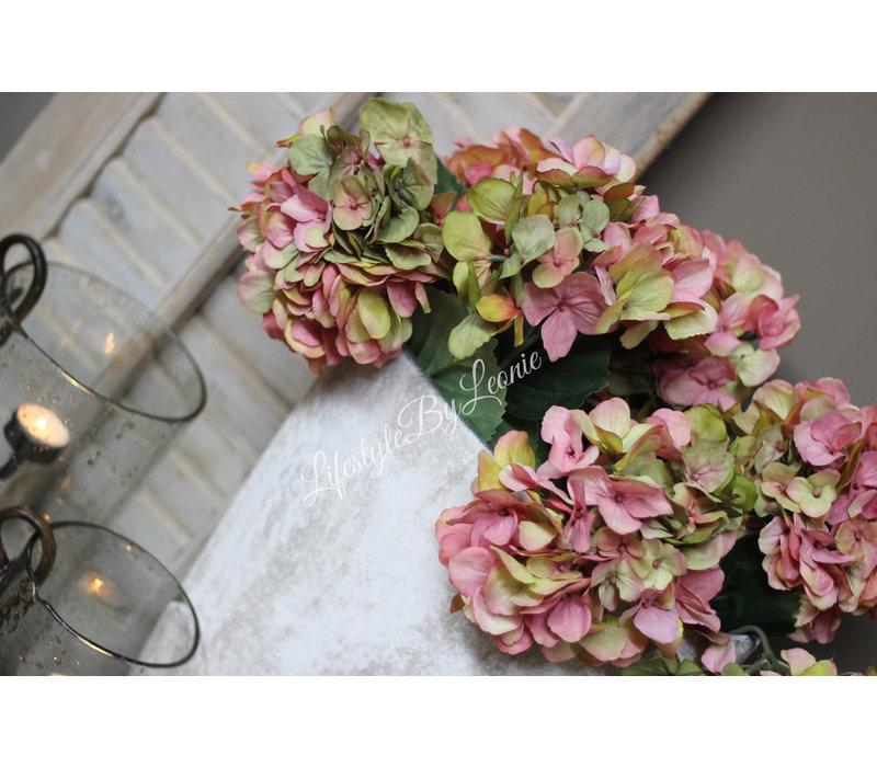 Zijden Hortensia tak pink green