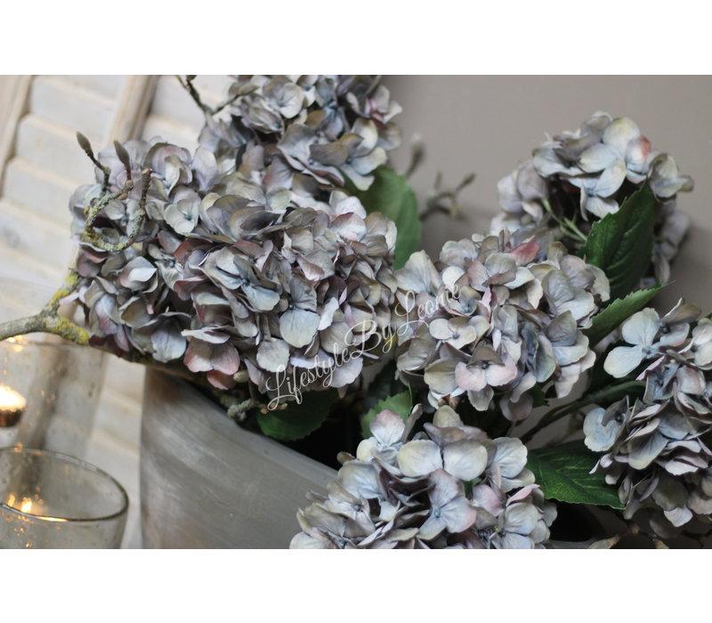 Zijden Hortensia tak pastel blue 61 cm