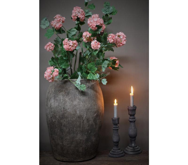 Zijden grote Hortensia Snowball tak Pink 114 cm