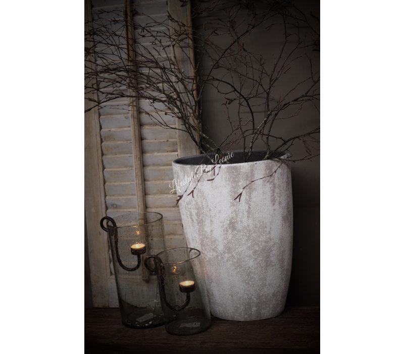 Ovale hoge stenen pot Denver 45 cm