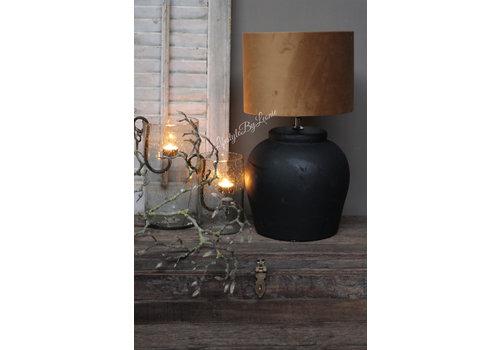 Zwart matte stenen kruik lampvoet 40 cm