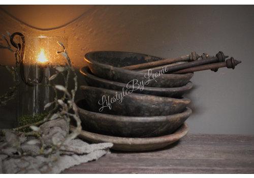 Authentieke oude houten schaal - maat S